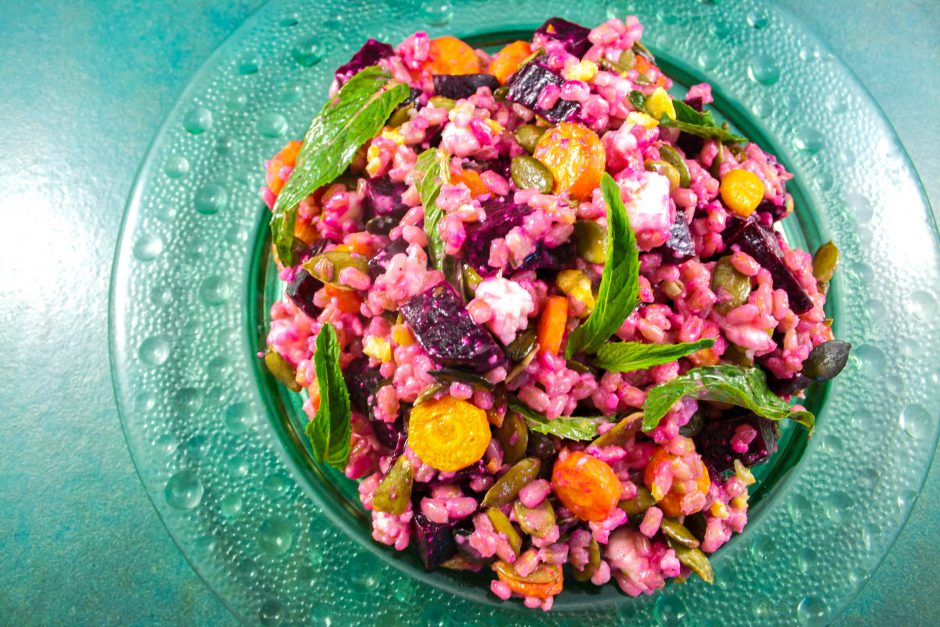 salade orge, betterave, carottes