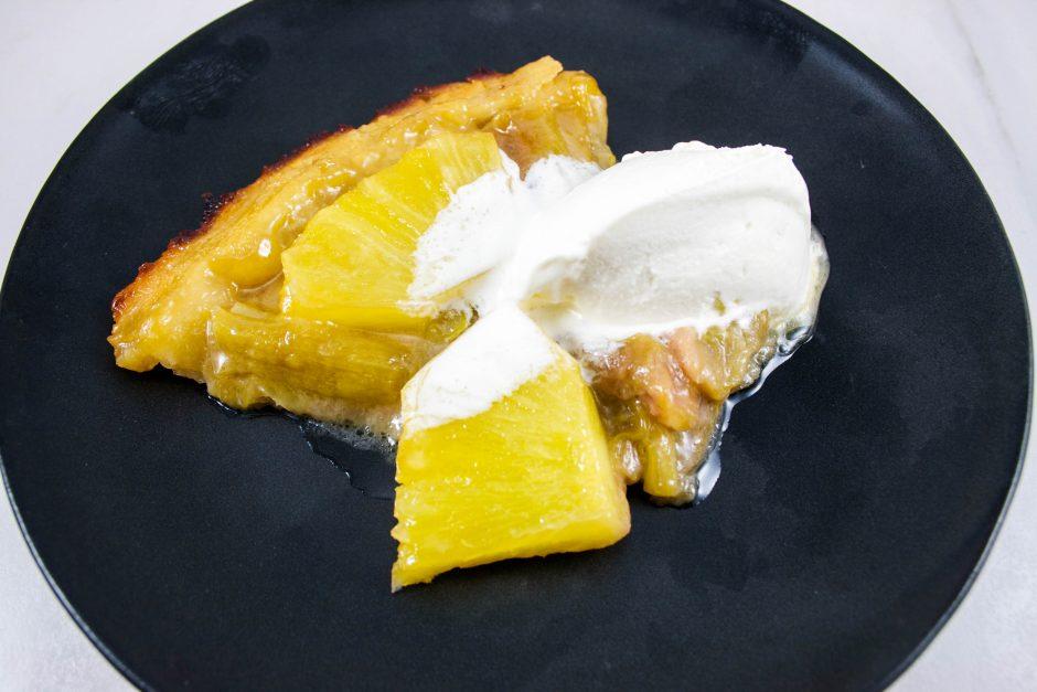 tatin sans gluten ananas rhubarbe crème glacée au fromage
