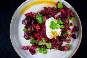 salade de betteraves et saucisse