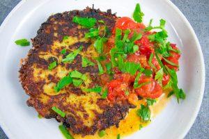 Rösti de courge spaghetti & compote de tomates