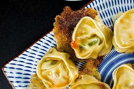 Dumplings volants au porc et aux crevettes
