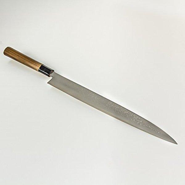 Couteau de Damas-Aogami Japonais (pour Sashimi ), biseau double (30 cm)