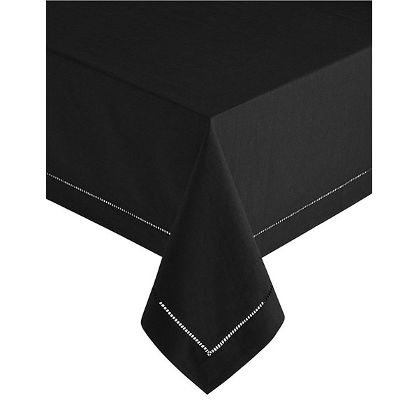 Nappe en lin noir Hemstitch (60 x 102″)